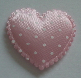 10 Large Pink Spotted Hearts