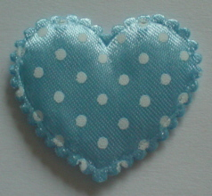 10 Large Blue Spotted Hearts
