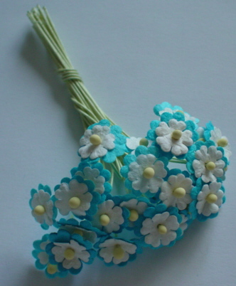 25 Turquoise / White Flowers