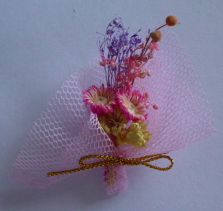 Pink Mesh with Dried Flower