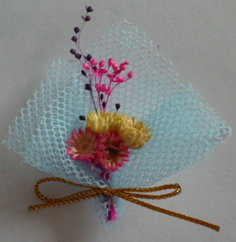 Blue Mesh with Dried Flower