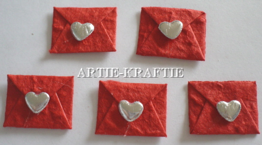 5 Love Letters - Red - Silver Heart