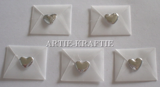 5 Love Letters - White - Silver Heart