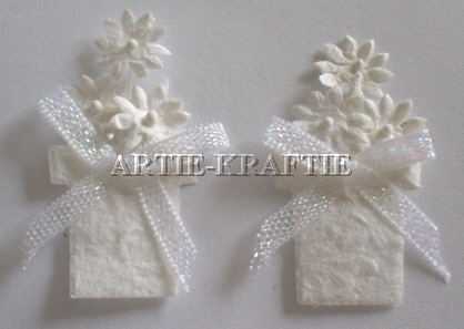 3d Flower Pots x 2 - White
