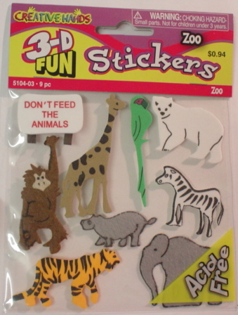 3d Foam Embellishments - Zoo Animals