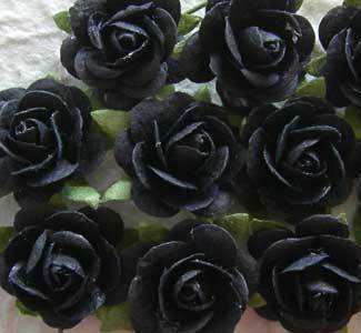 10 Black 15mm Mulberry Open Roses