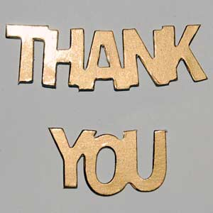 10 Sets Thank You Die Cuts - Gold