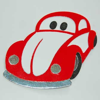4 Red Beetle Car Die Cuts