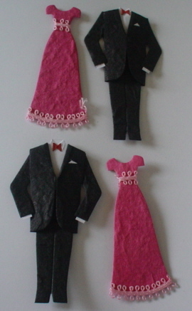 Pair of Tux & Pink Evening Dresses