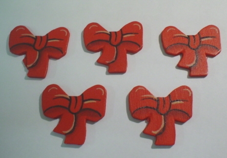 5 Red Wood Bows