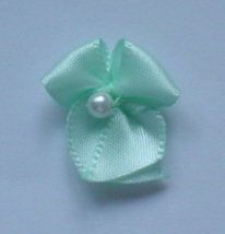 10 Single Pearl Bow - Mint Green