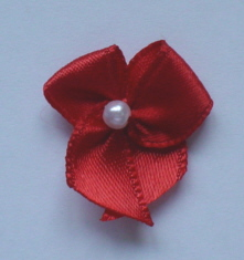 10 Single Pearl Bow - Red