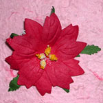 Large Red Mulberry Paper Poinsettias x 5