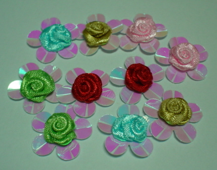 10 Sequined Mixed colour Buds
