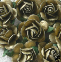 10 Gold 15mm Mulberry Open Roses