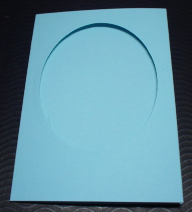 Oval A6 cards and matching envelopes Blue pack of five
