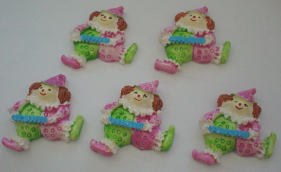 5 Clowns Resin Embellishments