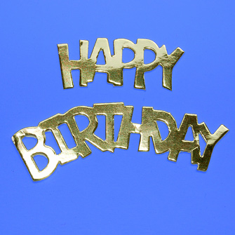 10 Happy Birthday Gold die cuts