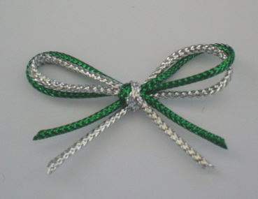 5 Green-Silver Double Bows