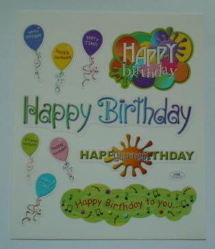 2 Sheets Happy Birthday Stickers