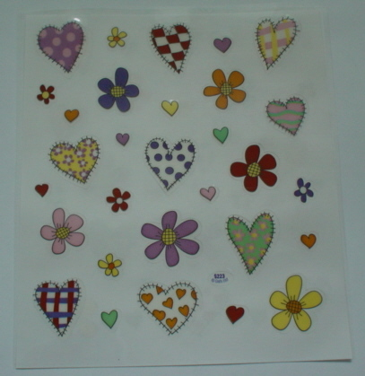 2 Sheets Hearts and Flowers Stickers