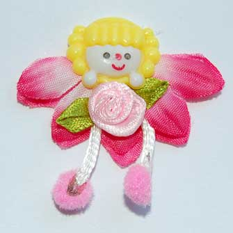 3 Pink Fairy Flower Embellishments