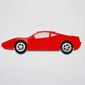4 Red Ferrari Car Die Cuts