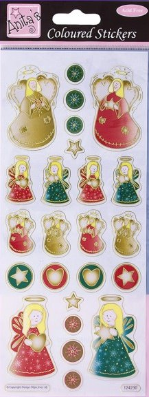 Christmas Red & Gold Angel Stickers