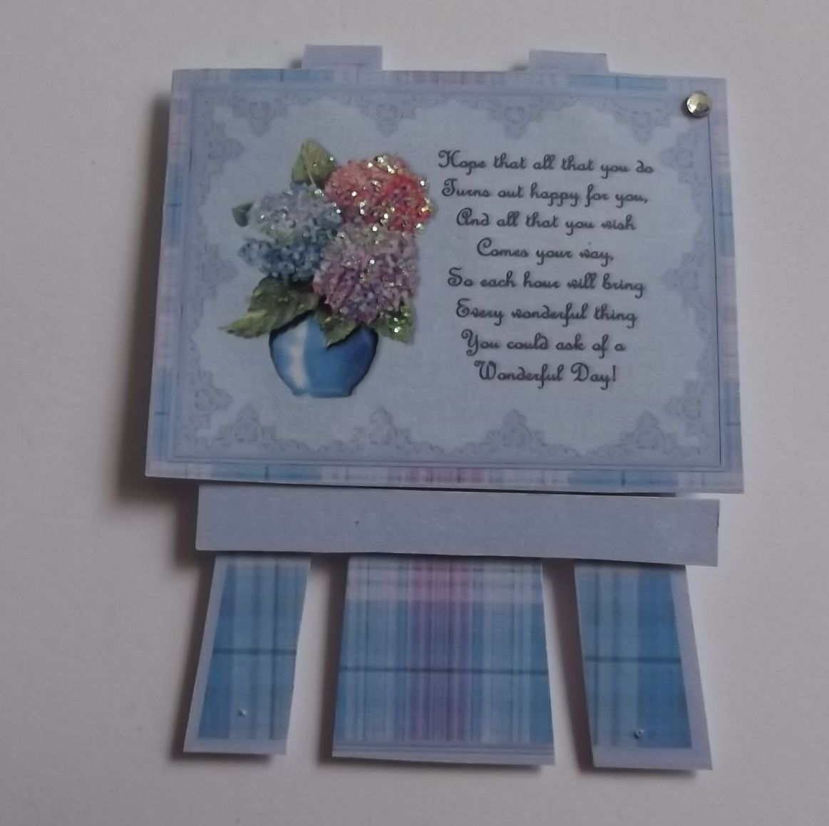 PK 2 BLUE FLORAL EASEL EMBELLISHMENT TOPPERS FOR CARDS