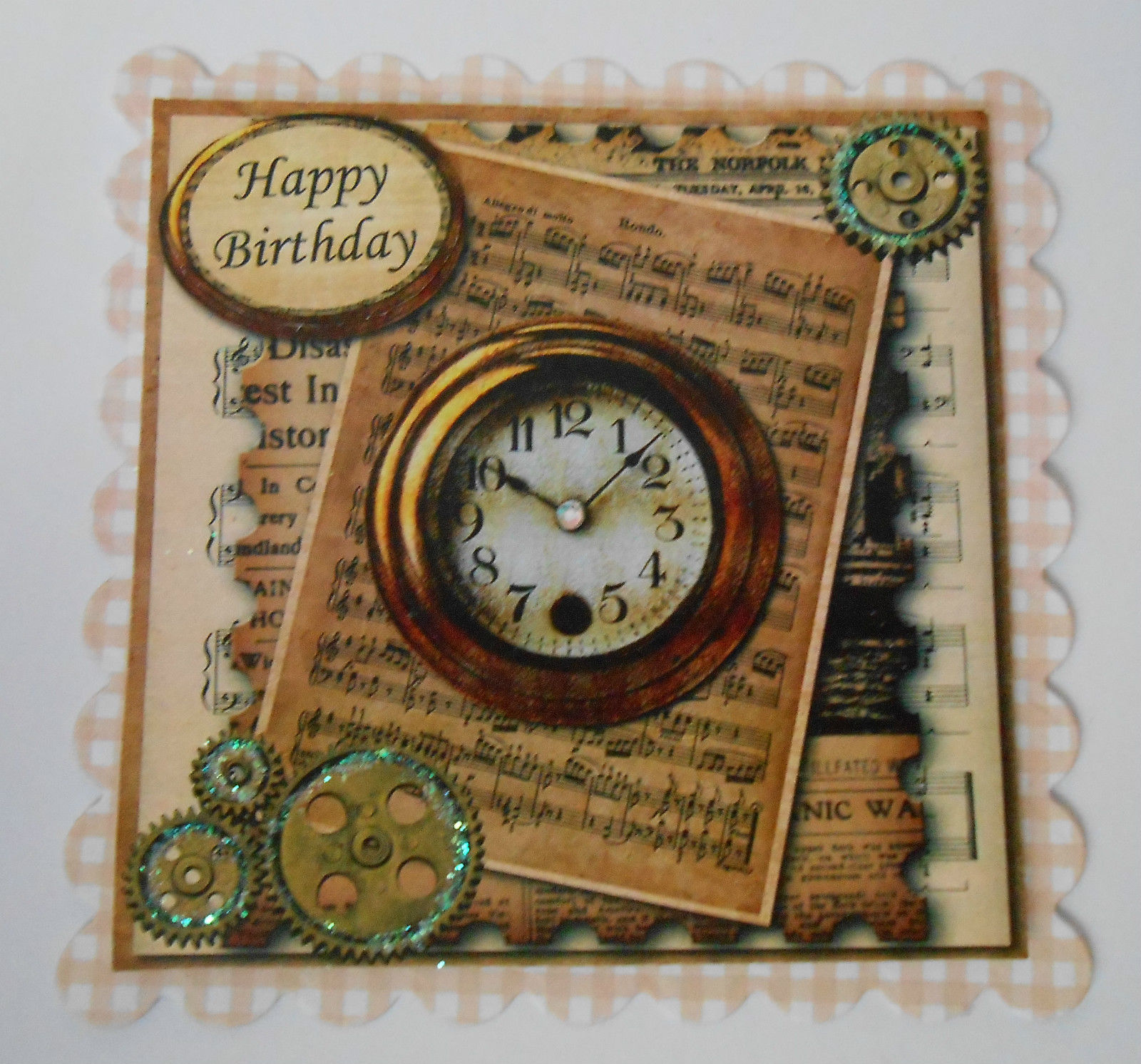 PK 2 STEAMPUNK CLOCKS HAPPY BIRTHDAY EMBELLISHMENT TOPPERS FOR C