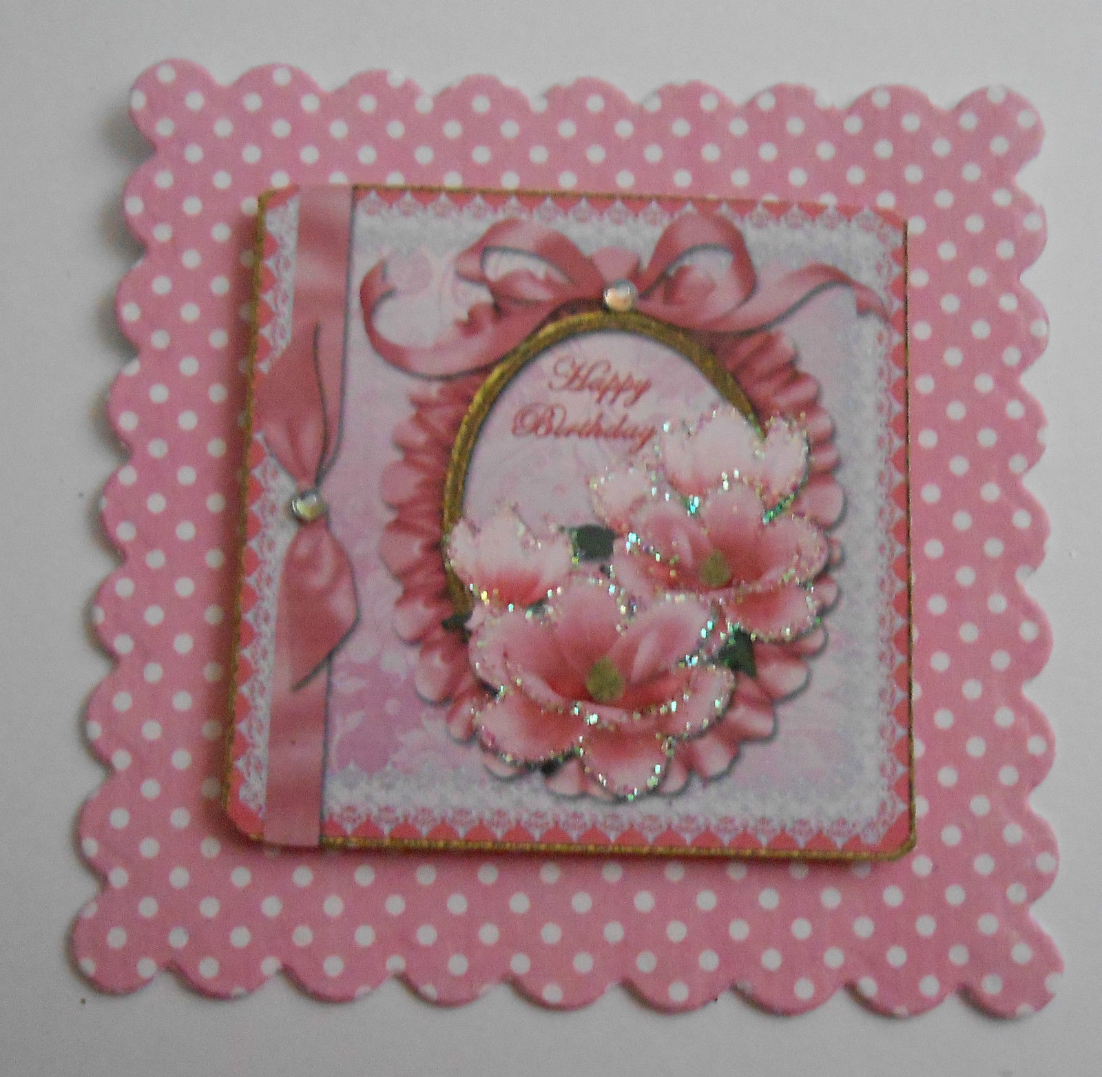 PK 2 HAPPY BIRTHDAY PINK MAGNOLIA EMBELLISHMENT TOPPERS FOR CARD