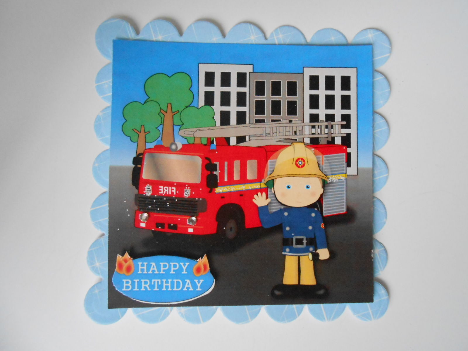 PK 2 FIREMAN FRED EMBELLISHMENT TOPPERS FOR CARDS OR CRAFTS