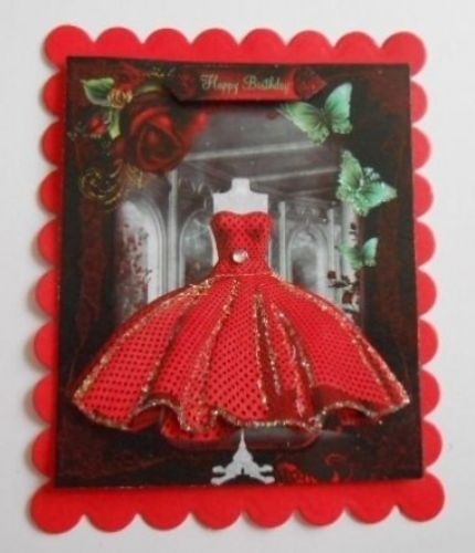 PK 2 3D RED DRESS EMBELLISHMENT TOPPERS FOR CARDS AND CRAFTS