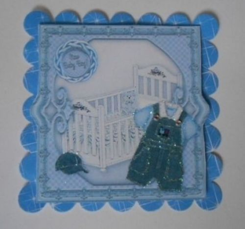 PK 2 BLUE NEW BABY BOY EMBELLISHMENT TOPPERS FOR CARDS AND CRAFT