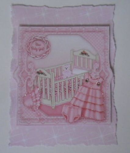 PACK 2 PINK NEW BABY GIRL BEAUTIFUL EMBELLISHMENTS FOR CARDS OR