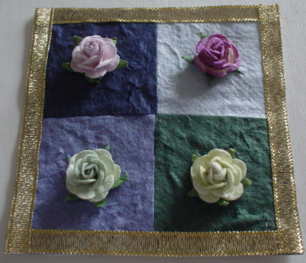 Gold Ribbon Square Roses