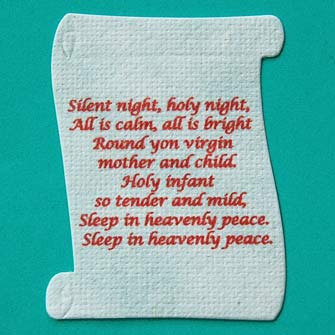 6 Silent Night Scrolls for cards or crafts