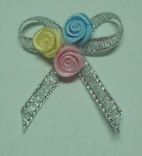 5 Ribbon Silver Satin Bows with Pretty Buds