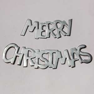 10 Sets Merry Christmas Silver Die Cuts