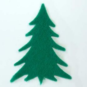 10 Green Felt Christmas Trees